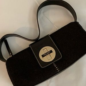 Kate Spade black barrel felt purse